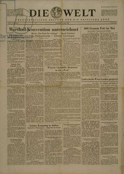 Front cover of 'Die Welt' newspaper with a headline about the signing of the Marshall Plan, 17th April 1948, (newsprint)