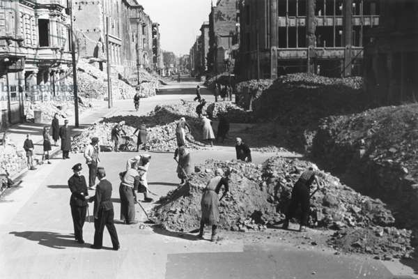 Berlin's sector borders being removed following the lifting of the Berlin Blockade, Berlin, 11th May 1949 (b/w photo)