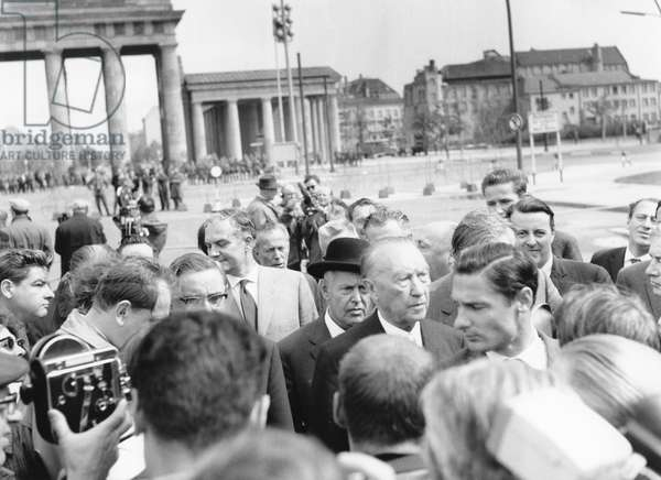 Konrad Adenauer, German chancellor, visiting the sector border at Brandenburg Gate, Berlin, 22nd August 1961, (b/w photo)