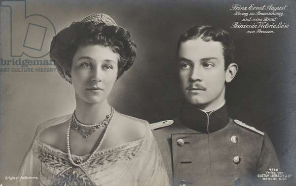 Viktoria Luise of Prussia and Ernst August, 1913 (b/w photo)