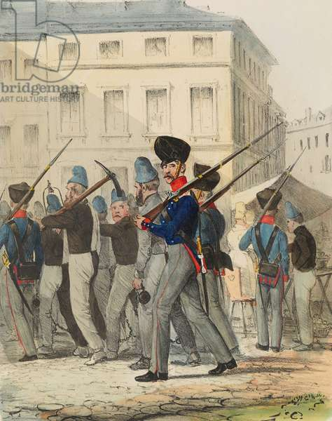Garrison Company, plate 39 from 'Armed Forces of Europe', 1838-43 (hand-coloured litho)