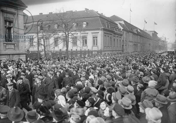 """In Wilhelmstrasse on the anniversary of the """"seizure of power"""", Berlin, Germany, 30th January, 1934 (b/w photo)"""