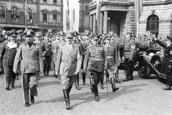 Adolf Hitler and Benito Mussolini in Munich, Germany, 1938 (b/w photo)