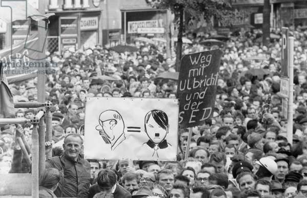 Demonstration against the construction of the Berlin Wall outside Schoeneberg Town Hall, Berlin, 16 August 1961 (b/w photo)