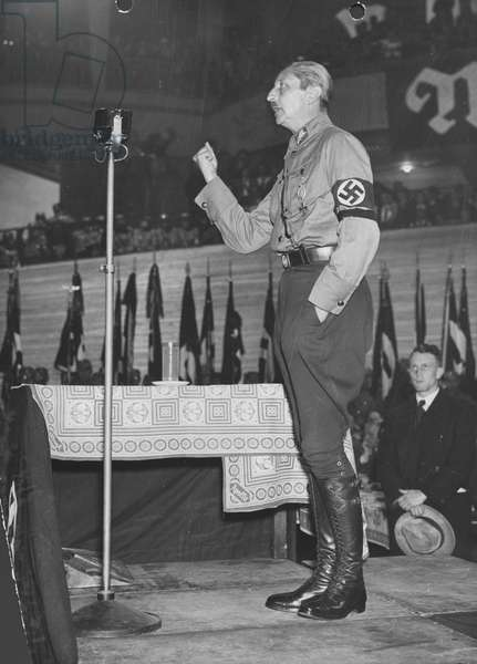 August Wilhelm of Prussia speaks at a campaign rally of the NSDAP, 1932 (b/w photo)