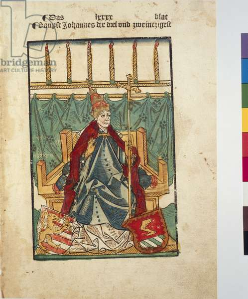 Portait of Antipope John XIII, from Chronik des Konstanzer Konzils (Chronicle of the Council of Constance) by Ulrich von Richenthal, printed by Anton Sorg, Augsburg, 1483 (coloured woodcut)