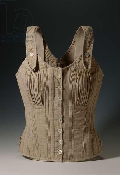 Reform corset, c.1900 (wool, cotton, regenerated cellulose, glass, metal & nacre)