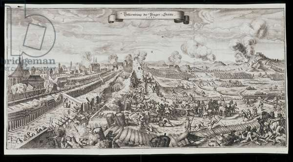 The Storming of Prague by the Swedes in October/November 1648,1652 (engraving)