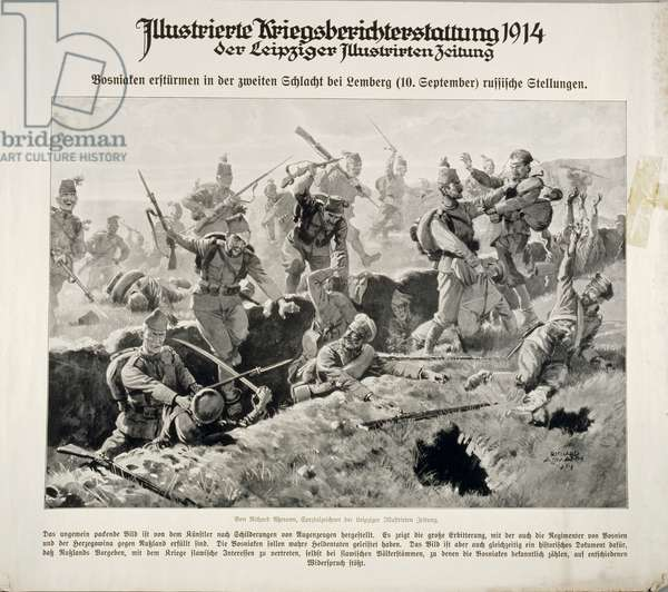 Bosniak soldiers attack Russian positions in the battle of Galicia on 10 September 1914, from the series