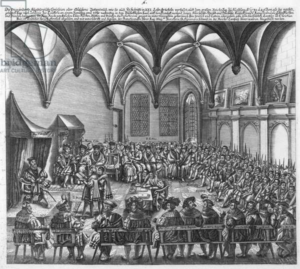 Reading of the Augsburg Confession on 25 June 1530 in the Augsburger Reichstag, c.1530 (engraving)