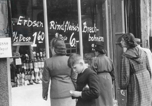 Shop window displaying goods following the lifting of the Berlin Blockade, Berlin, 1949, (b/w photo)