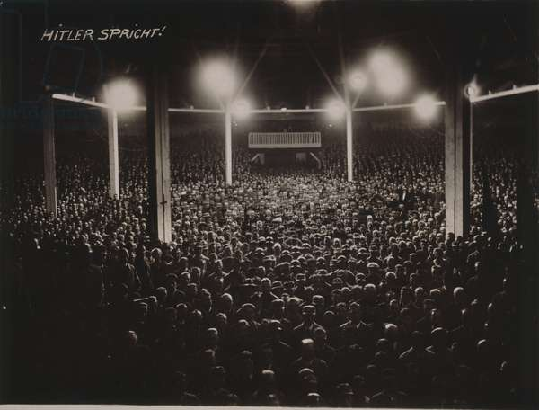 Mass rally of the NSDAP with Adolf Hitler as speaker, at the Zirkus Krone in Munich, 1923 (b/w photo)
