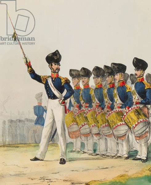 Drum Major and Infantry Drummers, plate 8 from 'Armed Forces of Europe', 1838-43 (hand-coloured litho)