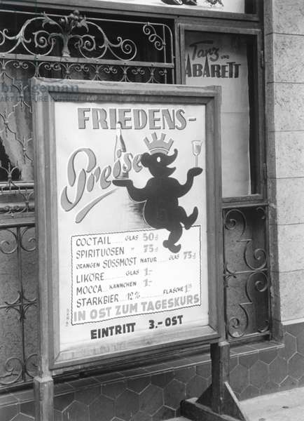 Pricelist of a dance bar in West Berlin following the lifting of the Berlin Blockade (24th June 1948 - 11th May 1949), Berlin, 1949 (b/w photo)