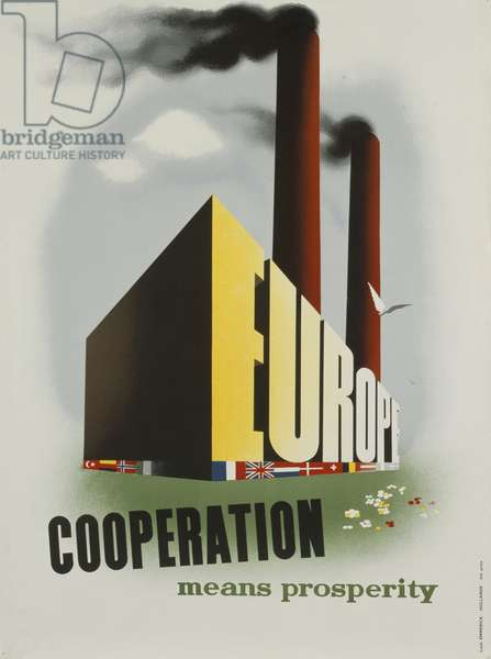Poster advertising the European Recovery Program (Marshall Plan), 1950, (colour litho)