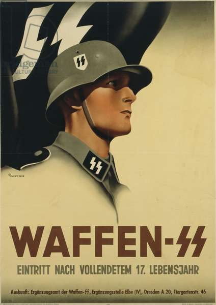 German recruitment poster for the Waffen-SS, printed by Obpacher AG, Munich, 1940 (colour litho)