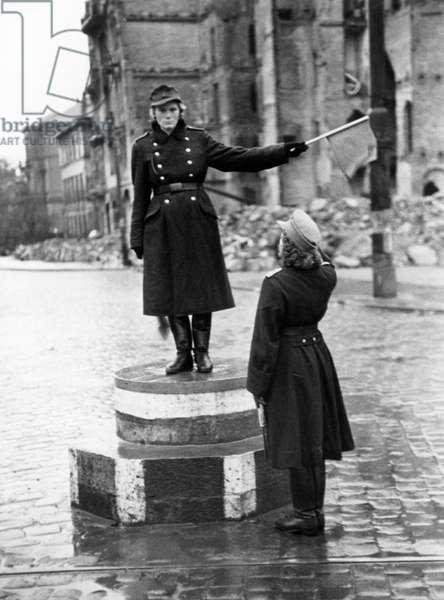 Traffic Police in Soviet occupied Dresden, 1945-48 (b/w photo)
