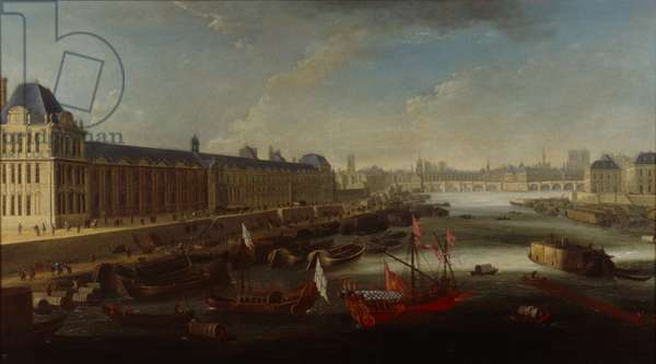 View of the Seine from the former Pont Barbier, Paris, 1668 (oil on canvas)
