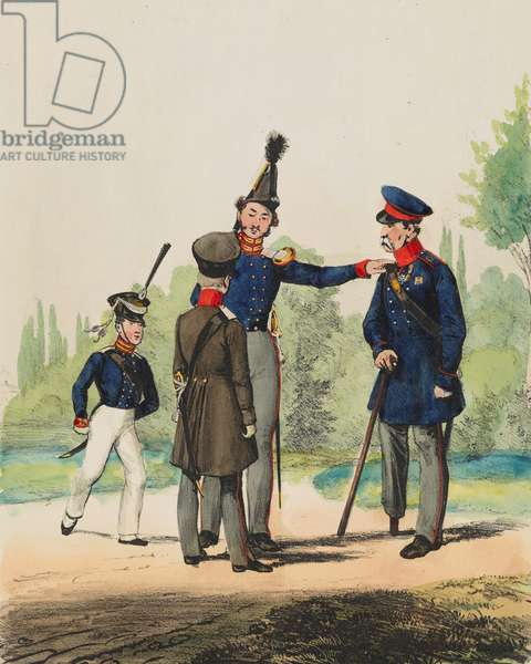 Cadet Corps in Berlin: Officer, Cadet and Invalid, plate 40 from 'Armed Forces of Europe', 1838-43 (hand-coloured litho)