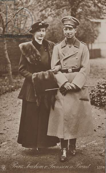 Joachim of Prussia and his bride Marie Auguste, 1916 (b/w photo)