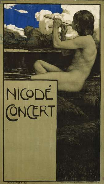German advertisement for a concert with works by the composer and conductor Jean Louis Nicod, printed by Wilhelm Hoffmann, Dresden, 1897 (colour litho)