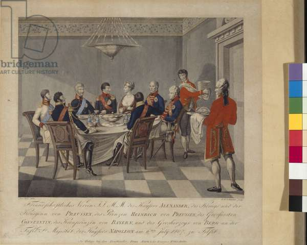 Napoleon's round table at Sovetsk, formerly Tilsit in East Prussia, on 6th July 1807, early 19th century