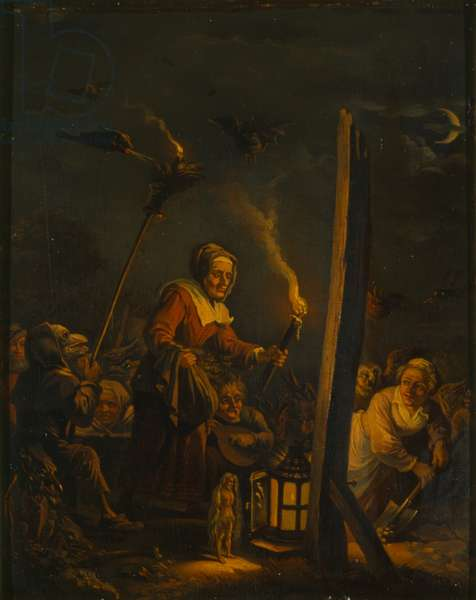 Witches scene, c.1700 (oil on wood)