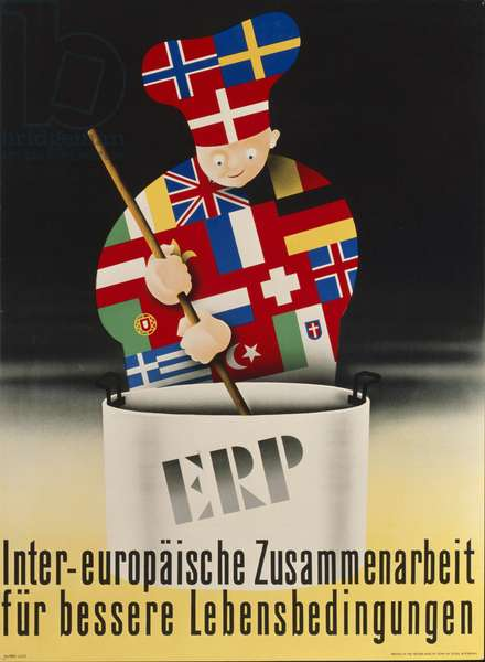 Poster advertising the European Recovery Program (Marshall Plan), printed by Kuehn en Zoon, Rotterdam, 1950, (colour litho)