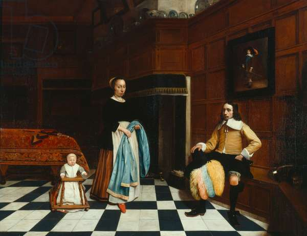 Dutch interior with family, 1661 (oil on canvas)