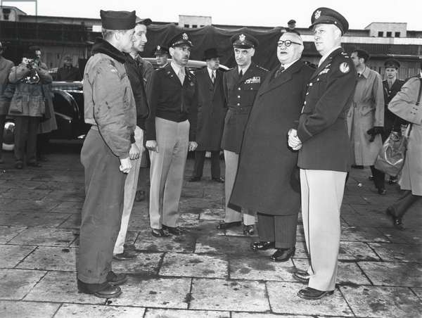 British Foreign Secretary Ernest Bevin (1881-1951) visiting Tempelhof Airport, the staging post of the Berlin Airlift during the Berlin Blockade (24th June 1948 - 11th May 1949), Berlin, 9th May 1949 (b/w photo)