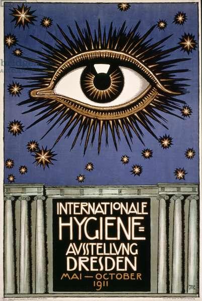 Advertisement for the 'First International Hygiene Exhibition' in Dresden, printed by Leutert und Schneidewind, Dresden 1911 (colour litho)