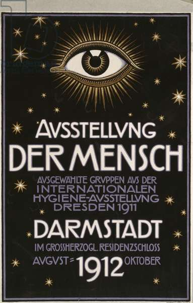 German advertisement for a 'hygiene exhibition' in Darmstadt, printed by C.C. Meinhold und S Dresden 1912 (colour litho)