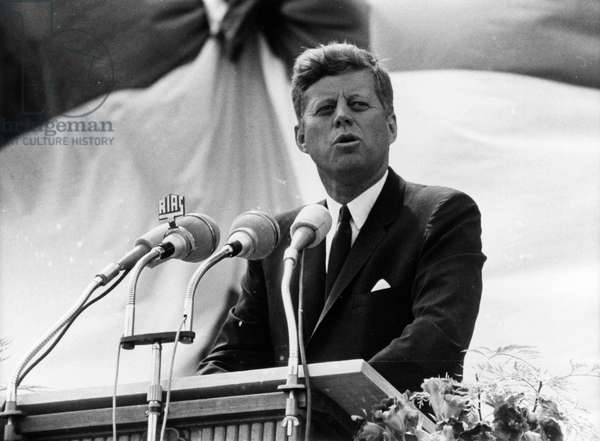 United States President John F. Kennedy making a speech to more than 450,000 Berliners in Rudolph Wilde Square, 26th June 1963 (b/w photo)