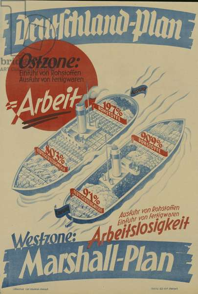 East German propaganda poster against the European Recovery Program (Marshall Plan), published by Carl Kaestner, Eisenach, between 1947-51, (colour litho)