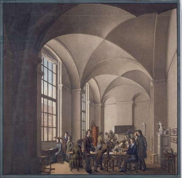 Johann Erdmann Hummel teaching perspective at the Berliner Kunstakademie, 1830 (pen & ink)