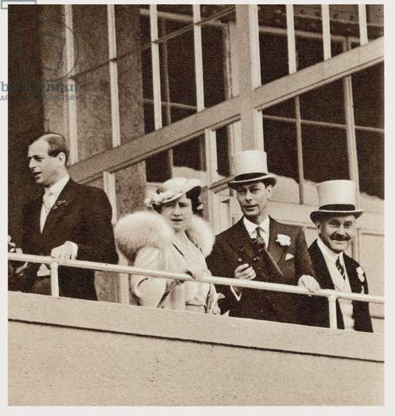 The Coronation Derby: Watching the Race from the Royal Box, from 'The Illustrated London News', 5th June 1937 (b/w photo) (detail of 247938)
