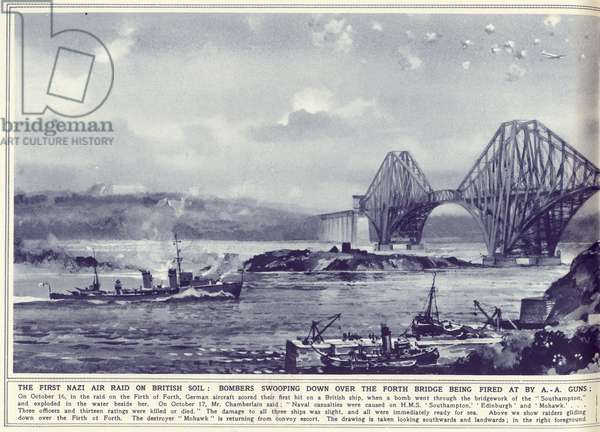 The first Nazi air raid on British soil: bombers swooping down over the Forth Bridge with HMS Mohawk returning from convoy escort in the foreground, from 'The Illustrated War News', published 1st November 1939 (litho) (see also 360623 and 360635)