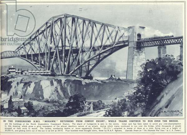 The first Nazi air raid on British soil: bombers swooping down over the Forth Bridge with HMS Mohawk returning from convoy escort in the foreground, from 'The Illustrated War News', published 1st November 1939 (litho) (see also 360622 and 360635)