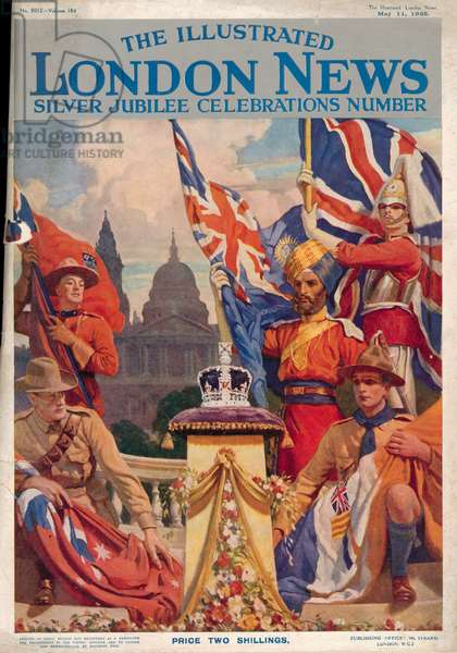 Front cover of 'The Illustrated London News Silver Jubilee Celebrations Number', 11th May 1935 (colour litho)