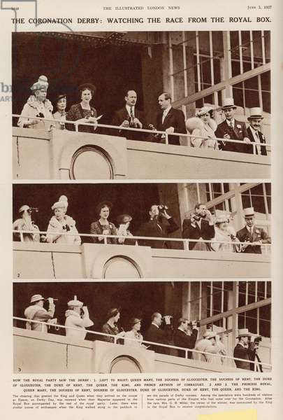 The Coronation Derby: Watching the Race from the Royal Box, from 'The Illustrated London News', 5th June 1937 (b/w photo)