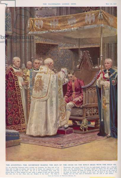 The Anointing Ceremony at the Coronation of King George VI (1895-1952), from 'The Illustrated London News', 15th May 1937 (colour litho)
