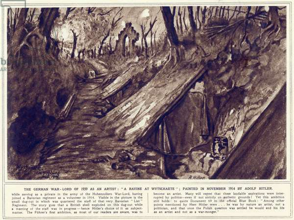 A Ravine at Wytschaete, painted in November 1914, published in 'The Illustrated War News', 1st November 1939