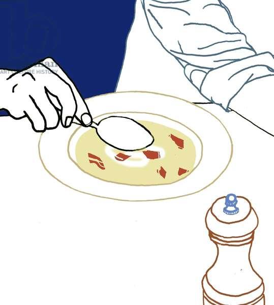 Eating Soup, 2008-09 (mixed media)