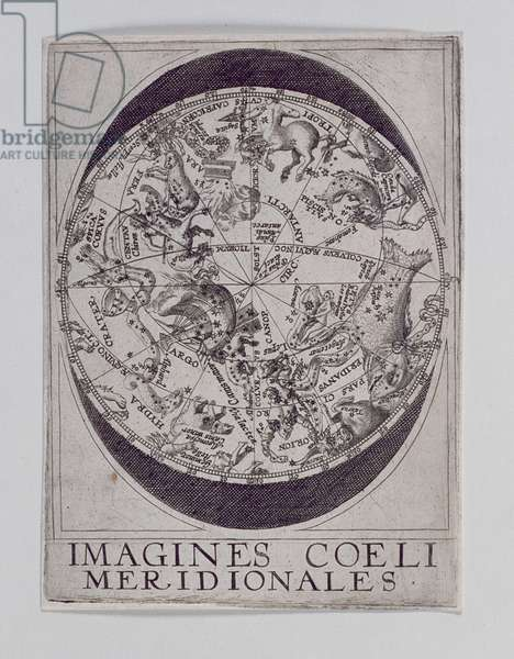 Star Chart with pictures of the major constellations (woodcut)