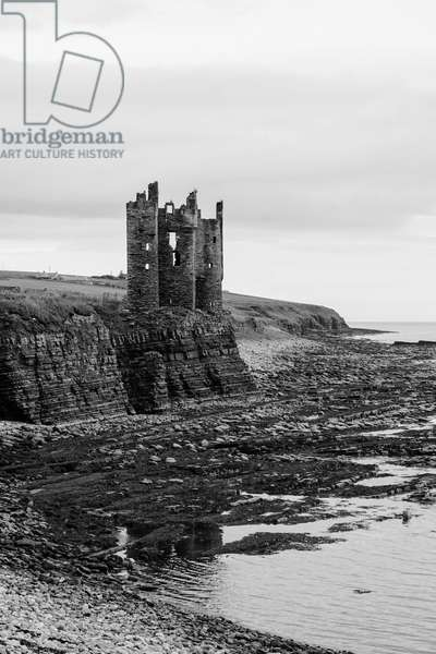 Keiss Castle, Scotland (b/w photo)
