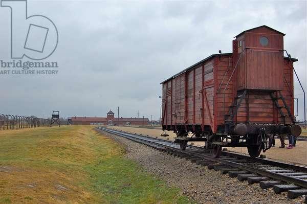 Train carriage at Auschwitz II-Birkenau (photo)