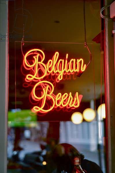 Belgian Beers bar sign, Bruges, Belgium (photo)