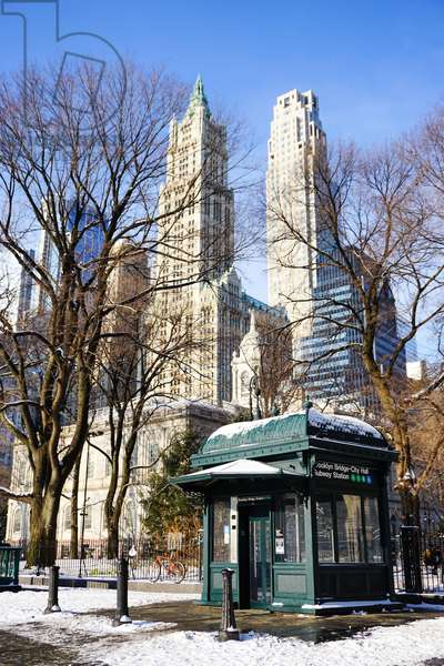 Woolworth Building and City Hall Park, Lower Manhattan, New York City (photo)