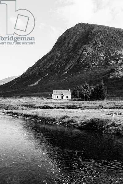 White cottage, Glencoe, Scotland (b/w photo)