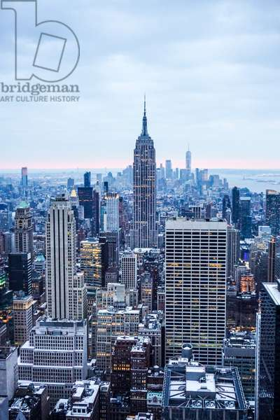 Empire State Building at dusk, Top of the Rock Observation Deck, New York City (photo)